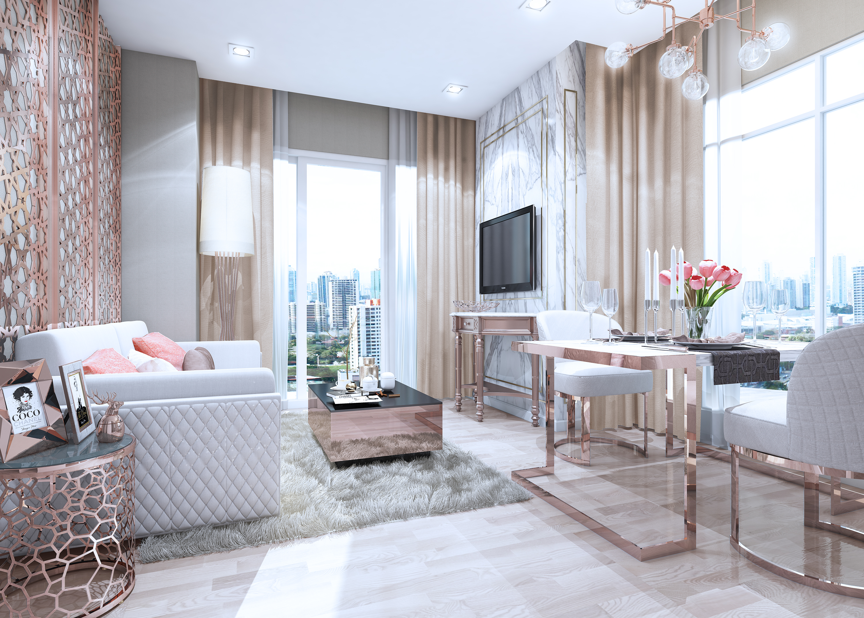 MetroLuxe Rose Gold Living room