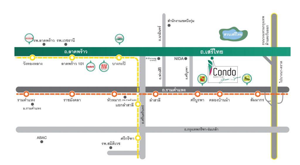 แผนที่ ไอคอนโด เสรีไทย กรีนสเปซ