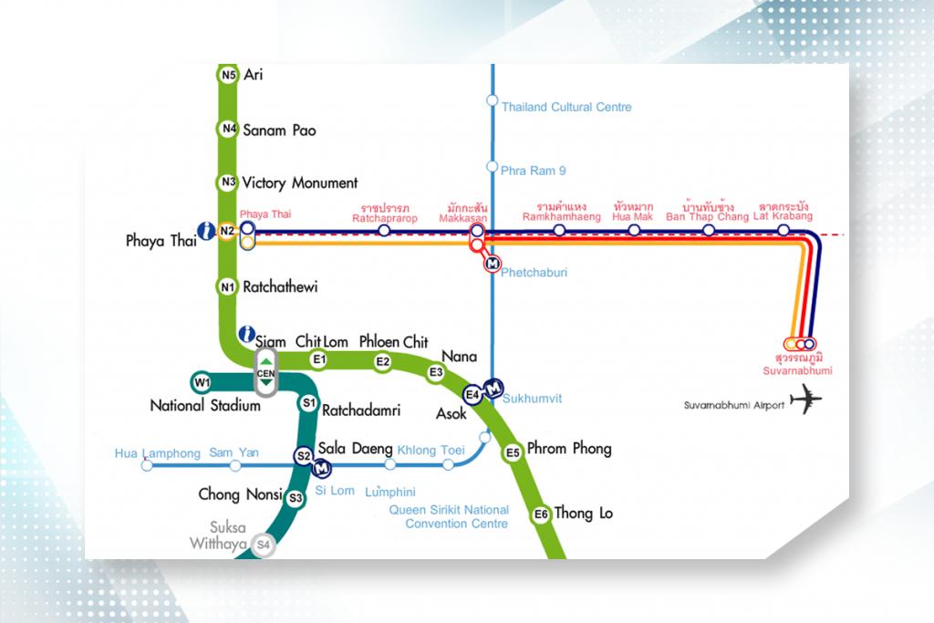แผนที่เส้นทางเดินรถไฟฟ้า